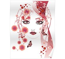 Girl with flowers and butterflies 2 Poster