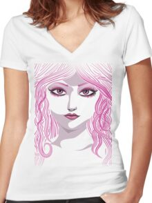 Portrait in pink color Women's Fitted V-Neck T-Shirt