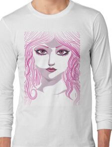 Portrait in pink color Long Sleeve T-Shirt