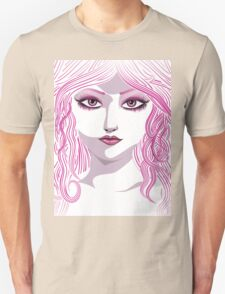 Portrait in pink color T-Shirt