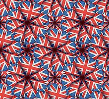 Heart Shaped England Flag Pattern Design by DFLC Prints