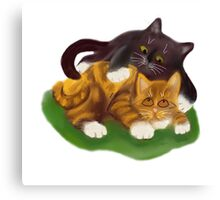 Another Tussle between Two Kittens Canvas Print
