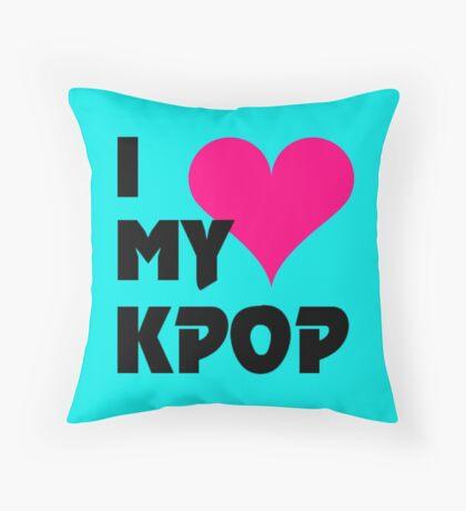 I LOVE MY KPOP - TEAL Throw Pillow