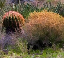 Red Spine Barrel Cactus and Friends by Roger Passman