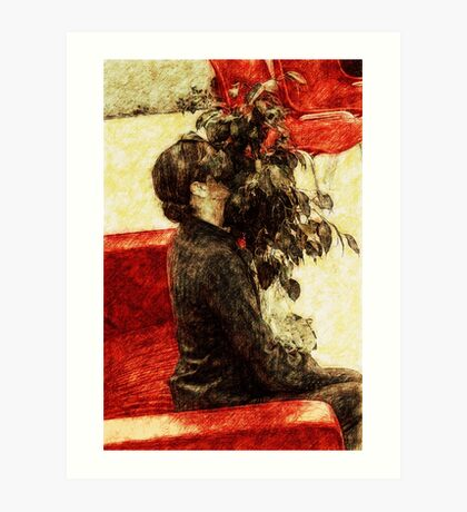 Modest girl and attracting plant Art Print