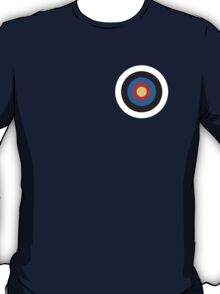 Bulls eye, Red, White, Blue, Roundel, Target, SMALL ON BLACK T-Shirt