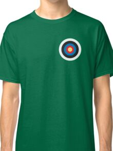 Bulls eye, on Breast, Red, White, Blue, Roundel, Target, SMALL ON BLACK Classic T-Shirt
