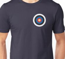 Bulls eye, on Breast, Red, White, Blue, Roundel, Target, SMALL ON BLACK Unisex T-Shirt