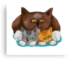 Momma Cat Baths her Two Kittens Canvas Print