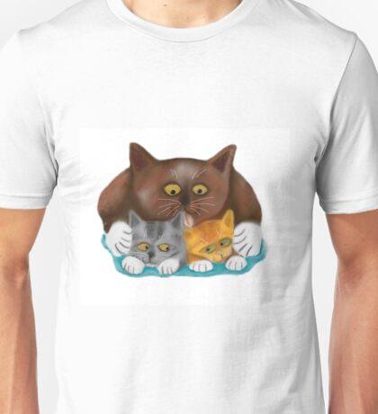 Momma Cat Baths her Two Kittens Unisex T-Shirt