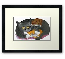 Momma  Cat and her Two Kittens Framed Print