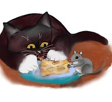 Mouse and Kitten Share the Swiss Cheese by NineLivesStudio