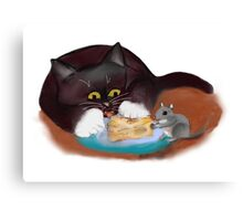 Mouse and Kitten Share the Swiss Cheese Canvas Print
