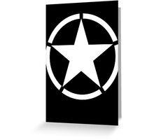 Army, Star & Circle, Jeep, WWII, America, American, Americana,  USA, White on Black Greeting Card