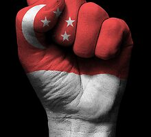 Flag of Singapore on a Raised Clenched Fist  by Jeff Bartels