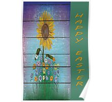 Single Sunflower On Blue Barnboard  Background Poster