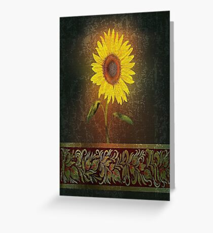 Single Sunflower On Brown Background Greeting Card