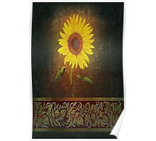 Single Sunflower On Brown Background Poster