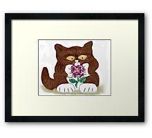 Purple Rose and Kitten Framed Print
