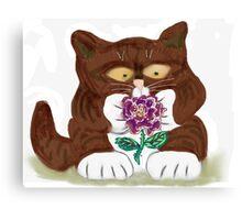 Purple Rose and Kitten Canvas Print