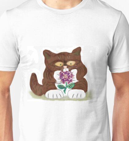 Purple Rose and Kitten Unisex T-Shirt