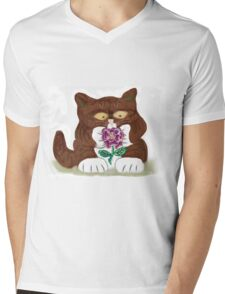 Purple Rose and Kitten Mens V-Neck T-Shirt