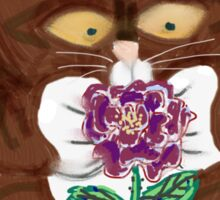 Purple Rose and Kitten Sticker
