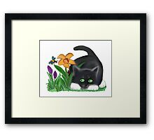 Bee and Kitten in Spring Garden Framed Print