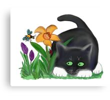 Bee and Kitten in Spring Garden Canvas Print