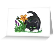 Bee and Kitten in Spring Garden Greeting Card