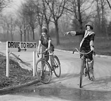 Flapper Girls Riding Bicycles, 1925 by historyphoto