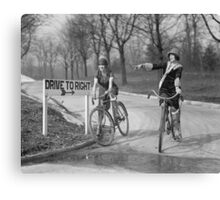 Flapper Girls Riding Bicycles, 1925 Canvas Print