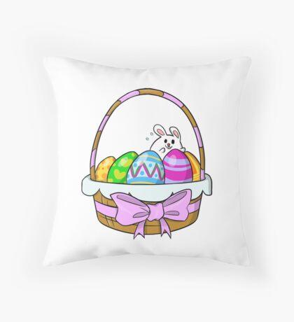 Bunny Basket Throw Pillow