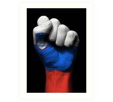 Flag of Slovenia on a Raised Clenched Fist  Art Print