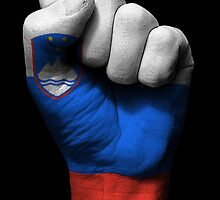 Flag of Slovenia on a Raised Clenched Fist  by Jeff Bartels