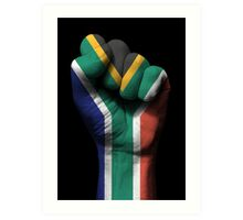 Flag of South Africa on a Raised Clenched Fist  Art Print