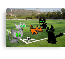 Cats Play Soccer Canvas Print