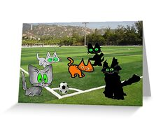 Cats Play Soccer Greeting Card