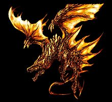 Fiery Molten Burning Dragon Design by LuckDragonGifts