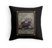 Vintage Goth Crow Throw Pillow