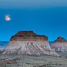 Moon over Pawnee Buttes by Kevin Williams