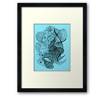 Pen and Ink on Blue Framed Print