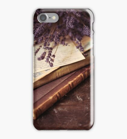 Still life with old books and lavenda iPhone Case/Skin