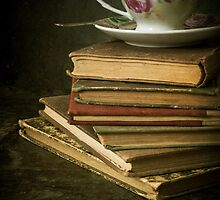 Still life with old books and teacup by JBlaminsky