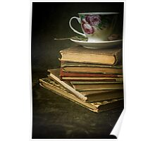 Still life with old books and teacup Poster