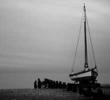 the boat on the beach by Sally P  Moore