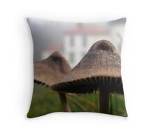 Mushrooms and Lighthouse Two Throw Pillow