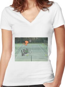 Tennis Cats Women's Fitted V-Neck T-Shirt