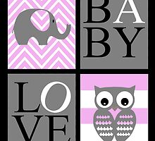 Love Baby Elephant and Owl by Shaina Haynes