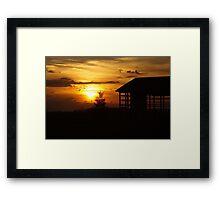 Sunset & Wood Framed Print